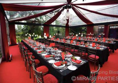 clear marquee draping